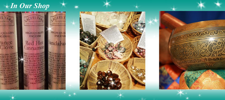 In our Shop - Crystals, bags, cards and much more